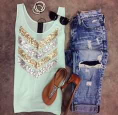 When your sequins are on point! >> Sequin Chevron Tank {Aqua} | Big Star Slouchy Distressed Skinny | Tabby By BC Footwear | Vintage Sunnies | Lily & Laura Bracelets