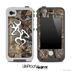 Real Camouflage with White Heart Deer Logo Skin for the iPhone 4/4s or 5 LifeProof Case on Etsy, $9.99
