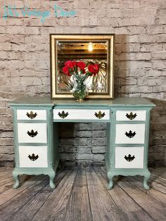 """This beautiful desk/vanity is a Drexel solid mahogany piece. Hand painted with Annie Sloan Pure White and Duck Egg colors. Distressed for a nice aged look. Sealed with clear wax for a durable finish.   The measurements for this desk are:  H - 30"""" W - 48"""" D - 18.5""""  $325  Shipping available for a fee"""