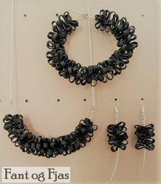 Smykke, armbånd og øredobber laget av gammel sykkelslange. Crochet Necklace, Jewelry, Jewlery, Jewerly, Schmuck, Jewels, Jewelery, Fine Jewelry, Jewel