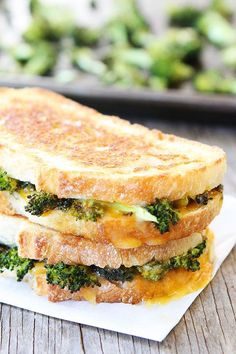 Roasted Broccoli Grilled Cheese Recipe on twopeasandtheirpod.com My favorite way to eat broccoli!