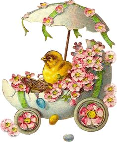 Free freebie printable vintage Easter scrap chick, egg