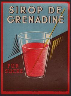 Etikett für Granatapfel / Sirop de Grenadine / grenadine label - ca. 1940 # 856…
