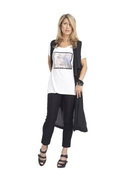 T shirt with heat seal transfer. Long vest duster.