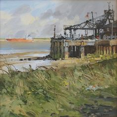 John Lines - English / Rugby (born - Outbound (jetty) John Works, Landscape Paintings, Landscapes, English Rugby, Leave Art, Line Artist, Allotment, Art Studies, Contemporary Paintings