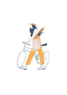 Beautiful illustration of woman with bike by Jessica Meyrick A project exploring the small indulgences of everyday characters in the park. AOI World Illustration Awards, New Talent Self-Initiated, shortlisted 2017 Free Illustration, Illustration Mignonne, Illustration Design Graphique, Illustration Inspiration, Character Illustration, Woman Illustration, Bicycle Illustration, Illustration Art Drawing, Illustration Styles