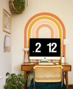 Une arche murale avec de la peinture DIY | Shake My Blog Bedroom Murals, Wall Murals, Gym And Kitchen, Cute Desk, Tape Painting, Home Office Decor, Office Mural, Dream Rooms, Decoration