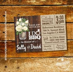 I do BBQ invitation couples shower engagement party mason jar wood country chic white roses bridal shower digital printable invite 14059 by myooakboutique on Etsy