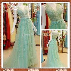 E043 New Fashion Elie Saab Real Made Photos Mint V-neck A-line Tulle Sequined Flowers Long Formal Girl Evening Dress Custom 2014 $268.00