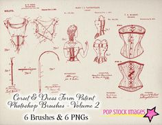 Vintage Corset Patents Photoshop Brushes Volume 2 - Vintage Corsets and Dress Forms - Corset Digital Graphics - Vintage Patents Brushes