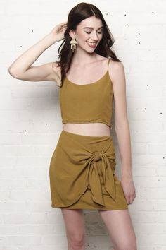 Marni Cami Top & Side Tie Skirt Set - Kiwi