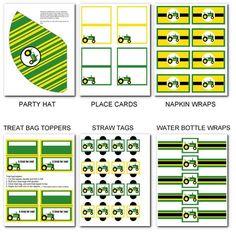 Printable Party Packs: JOHN DEERE TRACTOR BIRTHDAY PARTY PACK