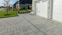 Looking for beautiful, polished and practical pavers? Techo-Bloc's Blu 80 Smooth pavers instantly add character to your landscape or driveway. Yard Stones, Paving Stones, Driveway Paving, Modern Driveway, Walkway, Landscape Pavers, Paving Pattern, Landscaping Supplies, Curb Appeal