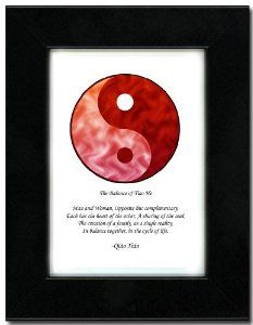 "5x7 Black Satin Frame with Yin Yang (Red/Red) by Oriental Design Gallery. $31.95. Each print is mounted on acid-free mat board by using acid free adhesive. Made in USA. Place on Wall or Desk. Easel and hangers included. Wall Hangers must be installed by customer. Instructions included. Frame is made of eco-friendly composite wood materials. This is a Yin Yang Print with an original Chinese Proverb written by Qiao Xiao. The proberb is entitled ""The Balance of Tiao He"", the p..."