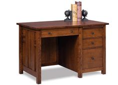 """Amish 48"""" Kascade Mission Desk A smaller desk that can fit your space just so. The Kascade is full of features in its small frame. Amish made in solid wood. You can add a keyboard pullout, pop up power station and leather writing pad if you wish!"""