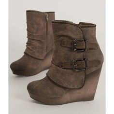 Not Rated Gemini Boot ($65) ❤ liked on Polyvore featuring shoes, boots, brown, short brown boots, brown wedge shoes, side zip boots, brown boots and brown platform boots