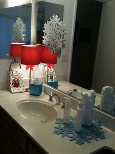 SnowFlakes as Holiday Bathroom Decorations.