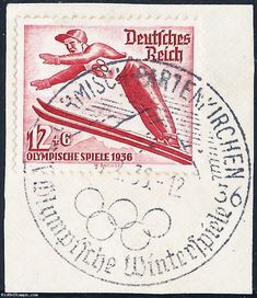 12+6Pf 4th Olympic Winter Games - Third Reich 1935 Ø #stamp #auction #stampauction #germanstamp #Olympics #ThirdReich #GarmischPartenkirchen