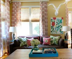 An easy border for couch pillows-- pink grosgrain ribbon