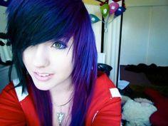 Deep blue hair with purple highlights Leda Muir, Protective Styles, Weave Hairstyles, Pretty Hairstyles, Locs, Afro, Purple Hair Highlights, Emo Scene Hair, Edgy Hair