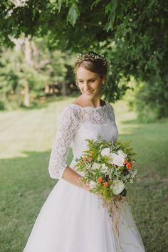 "Vintage long sleeve wedding dress (Audrey Hepburn style from ""Funny Face"" 1960). #weddingdress #bride #vintage"