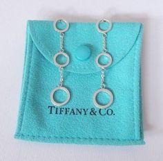 60f678149 Tiffany & Co Silver 3 Triple Multi Open Circles Chain Dangle Drop Earrings