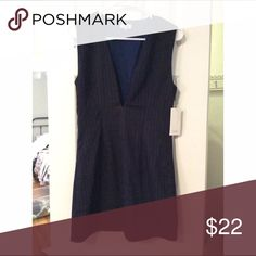 Plunge pinstriped dress Grey and navy blue plunge pinstriped sleeveless dress Tobi Dresses