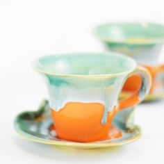 Orange cups tea ceramic stoneware pottery set cups coffee  - unique handmade created with love to enamel colours - two cups in the set.