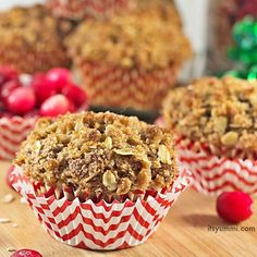 Get the recipe for cranberry streusel muffins. Tender, cinnamon spiced treats, stuffed with dried cranberries and topped with a sweet, crumbly, oat topping.