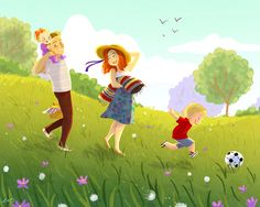 Finding that PERFECT picnic spot!! Art And Illustration, Character Illustration, Cute Cartoon Wallpapers, Drawing For Kids, Cute Drawings, Art Sketches, Illustrators, Cute Pictures, Character Design