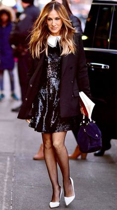 Sarah Jessica Parker in a black sequin mini dress, tights and white pumps