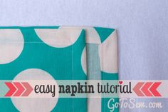 How to sew cloth napkins with an easy mitered corner | Go To Sew