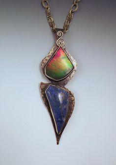Ammolite and Lapis- Signature Pendant- Fine Art Jewelry- Smokey Bronze- Metal Art Statement Necklace