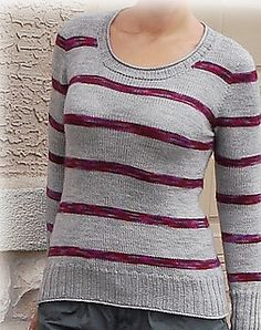 This simple sweater done as proof of concept of continuing back and front construction. It uses top down setting sleeve construction but you do not have to start new ball of yarn after finishing back and moving working on the fronts. At the same time you are knitting sleeves as well.