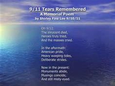 11 Tears Remembered A Memorial Poem by Shirley Fine Lee 9/10/11 On 9 ...