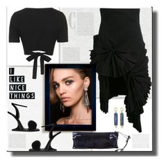 """Asymmetrical Skirt after Dark"" by fassionista ❤ liked on Polyvore featuring Jacquemus, Topshop, Giuseppe Zanotti, JudeFrances, Miu Miu, blackonblack, asymmetricalskirt, 60secondstyle and eveningwearinsummer"