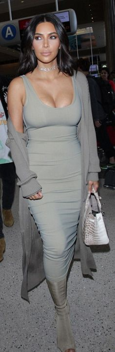 Kim Kardashian in Purse – Hermes  Dress – Mark Wong  Shoes – Yeezy  Sunglasses – Givenchy