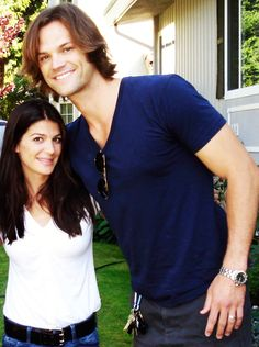 Jared Padalecki and wife Gen .............she is like Heather s height <-- And here we see the wild Moose in its natural habitat.