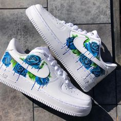 Blue Rose Cluster - Blue Rose Cluster The post Blue Rose Cluster appeared first on Nike Airmax Sho - Cute Shoes Flats, Cute Nike Shoes, Swag Shoes, Cute Sneakers, Vans Shoes, Shoes Sneakers, Nike Custom Shoes, Customised Shoes, Custom Painted Shoes