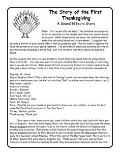 Thanksgiving Sound Effects Story -helps kids learn the story of the first Thanksgiving in a fun way - great for practicing auditory processing. Thanksgiving Stories, November Thanksgiving, Thanksgiving Preschool, The First Thanksgiving Story, Thanksgiving Projects, Thanksgiving Traditions, Music Activities, Holiday Activities, Teaching Activities