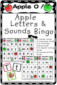 Apple O! Apples Letter and Sounds Bingo Game is a great activity for Back to School and Apple Units. Your students will love these cute game boards and the fun twist of getting to yell APPLE O! Letter Games, Letter T, Apple Unit, Teacher Helper, Beginning Sounds, Alphabet Worksheets, Bingo Games, Calling Cards, Letter Sounds