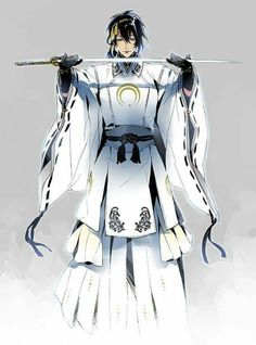 Mikazuki in white Touken Ranbu Mikazuki, Kaito Shion, Another Anime, Cute Anime Guys, Bishounen, Anime Demon, Japanese Outfits, Manga Boy, Manga Illustration