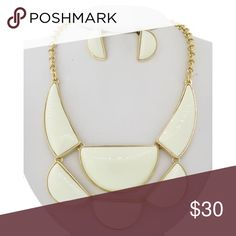 """Ivory necklace set Gold Tone / Ivory Acrylic / Lead&nickel Compliant / Post (earrings) / Statement / Necklace & Earring Set •   LENGTH : 16"""" + EXT •   EARRING : 1/2"""" X 1"""" •   DROP : 2 1/2""""  •   GOLD / IVORY R.E.A.L Jewelry Jewelry Necklaces"""