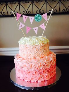 Pink ombre rose baby shower cake 9inch bottom, 6 inch top Yellow cake with Swiss buttercream icing