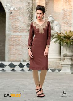 JNS rayon cotton Kurti With Embroidery