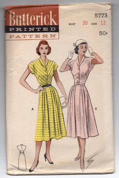 """1950's Butterick  One-Piece Dress with Cropped Kimono Sleeves Pattern - Bust 30"""" - No. 5773 by backroomfinds on Etsy"""