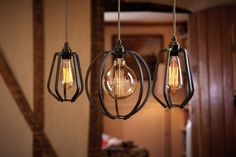 Farrier's Cage Teardrops and Globe lights clustered in country cottage