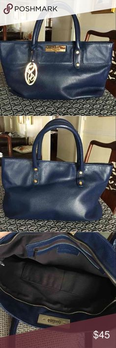 Authentic  Onna Ehrlich blue leather handbag Beautiful and comes with dustbag   16 x 4.25x 8.  6 inch handle drop    Ink blue calf leather. Gorgeous    Gold OE medallion attached Bags Shoulder Bags