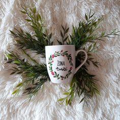 Kubki na ślub Hand Painted, Wreaths, Mugs, Tableware, Wedding Flowers, Blog, Diy, Dinnerware, Door Wreaths