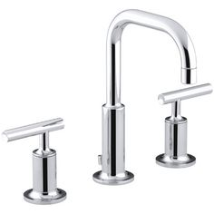 Gold- powder room  Kohler Purist Widespread Bathroom Sink Faucet with Low Lever Handles and Low Gooseneck Spout